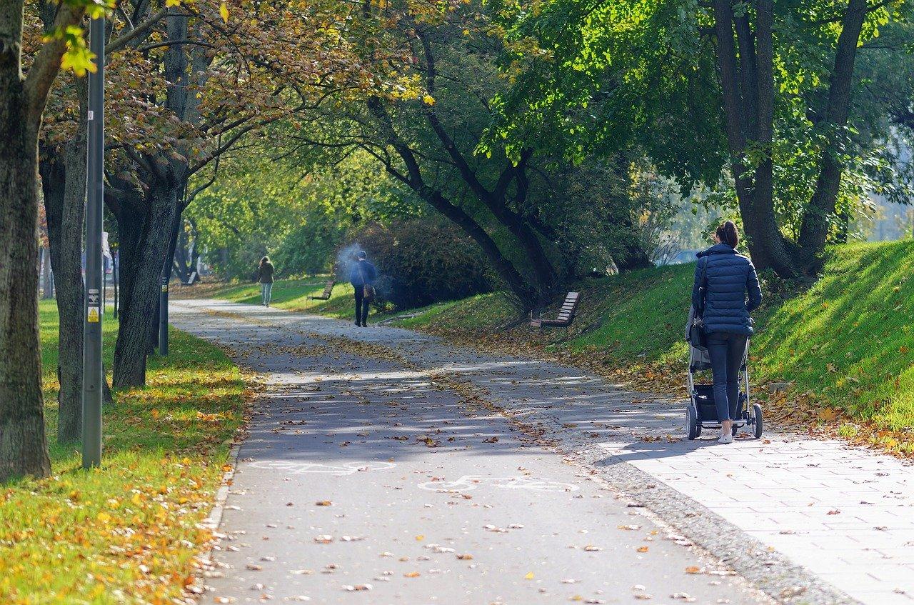 майка на разходка в парка с бебешка количка през есента